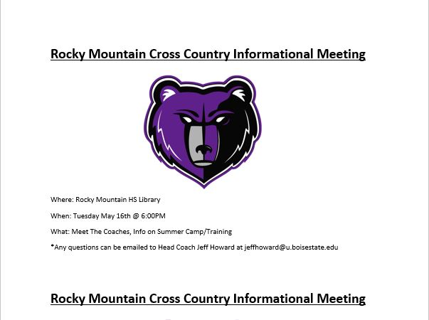 XC Meeting May 16th, 6:00PM